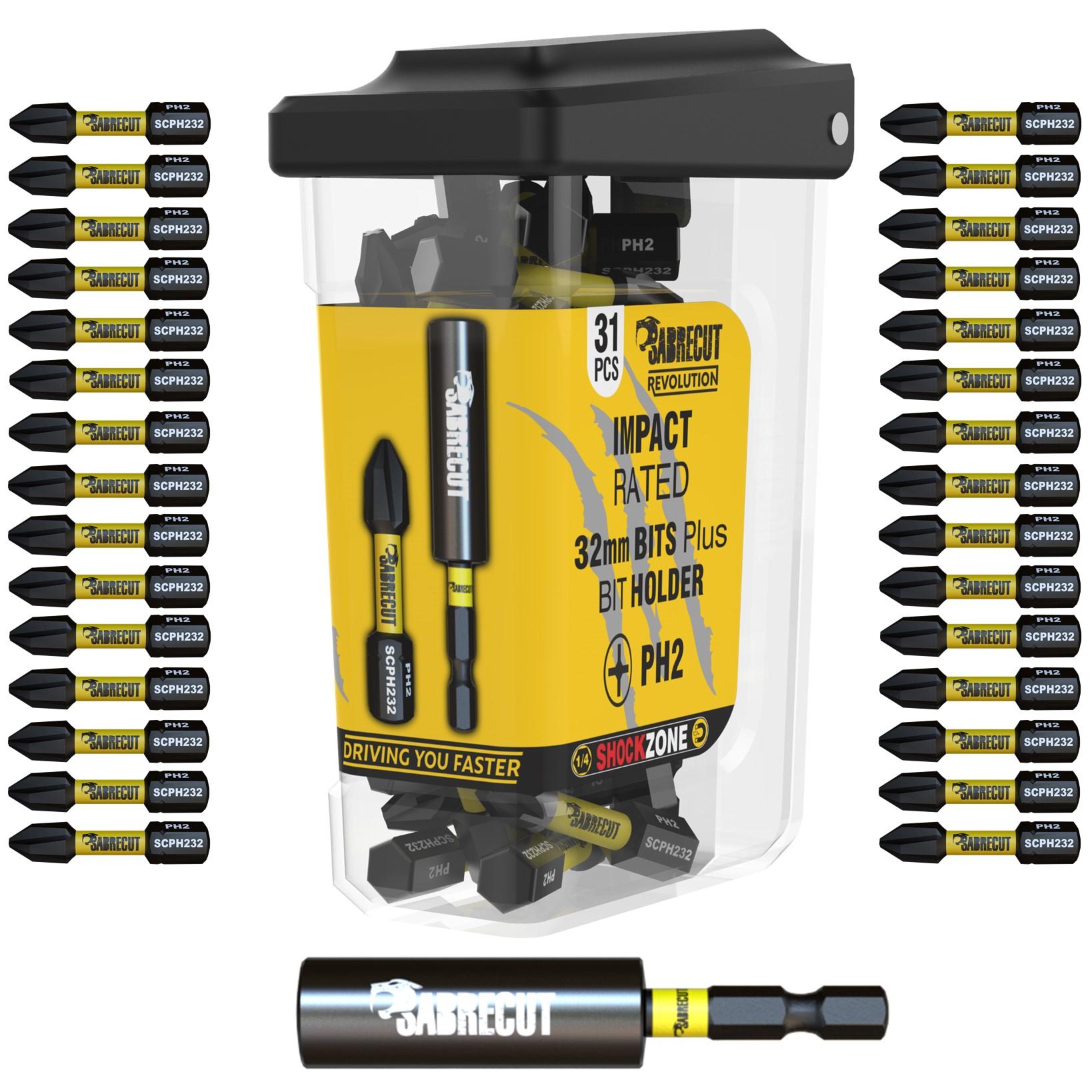 Pro Driver Bit PH2 Impact Duty Screwdriver Pack of 15 Drill Driver Bits Sets Black 25 mm OX
